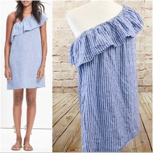 Madewell one shoulder chambray linen dress